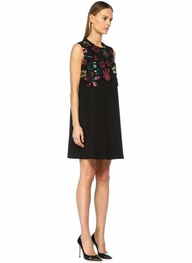 Beymen Club Çiçek İşlemeli Dantel Detaylı Mini Elbise Siyah